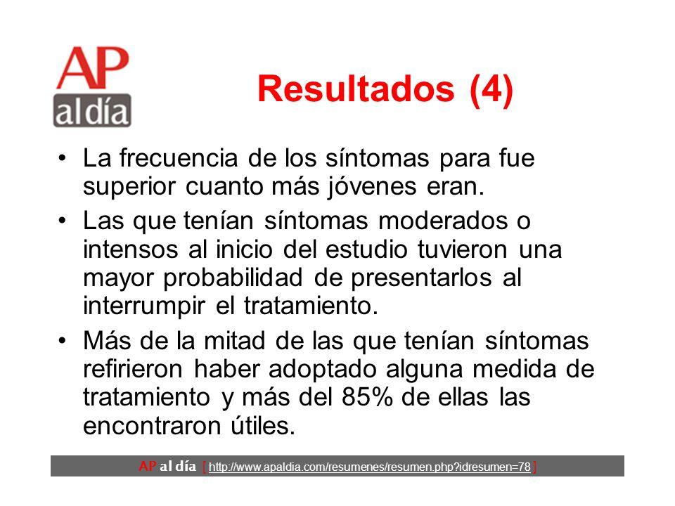 AP al día [ http://www.apaldia.com/resumenes/resumen.php?idresumen=78 ] Resultados (4) La frecuencia de los síntomas para fue superior cuanto más jóvenes eran.
