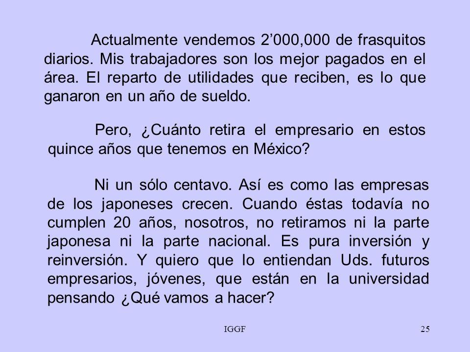 IGGF24 La obligación del empresario, los que tuvimos la fortuna de haber estudiado, no es nada más hacer dinero. Es trabajar y trabajar, y dar educaci