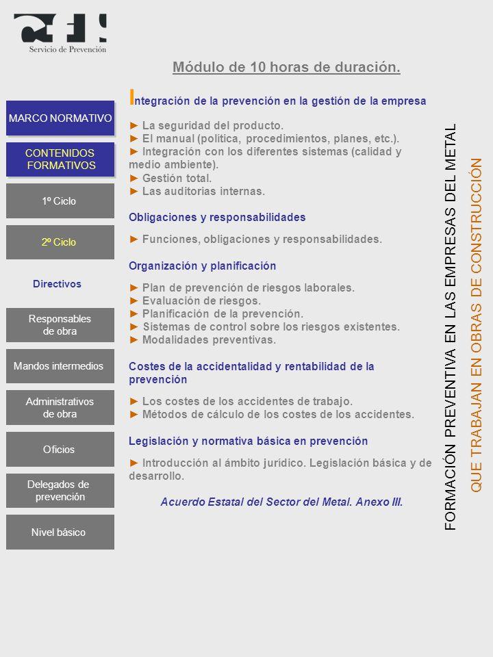 Módulo de 10 horas de duración. I ntegración de la prevención en la gestión de la empresa La seguridad del producto. El manual (política, procedimient