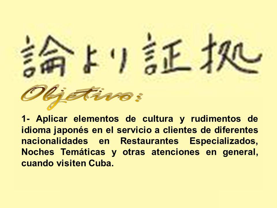 1- Aplicar elementos de cultura y rudimentos de idioma japonés en el servicio a clientes de diferentes nacionalidades en Restaurantes Especializados,