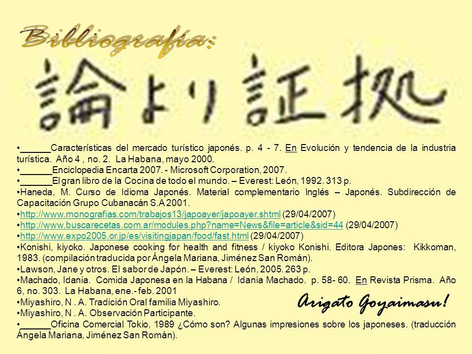 ______Características del mercado turístico japonés. p. 4 - 7. En Evolución y tendencia de la industria turística. Año 4, no. 2. La Habana, mayo 2000.