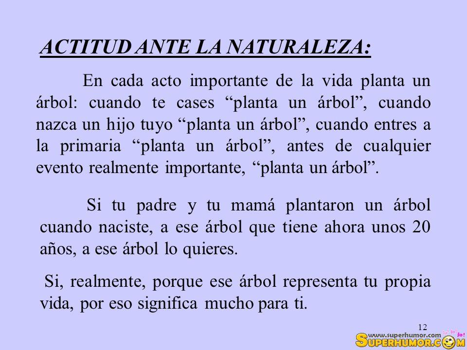 12 ACTITUD ANTE LA NATURALEZA: Si tu padre y tu mamá plantaron un árbol cuando naciste, a ese árbol que tiene ahora unos 20 años, a ese árbol lo quier