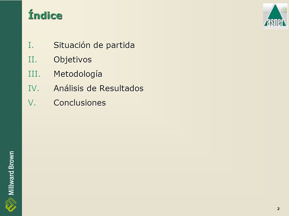 2 Índice I.Situación de partida II.Objetivos III.Metodología IV.Análisis de Resultados V.Conclusiones