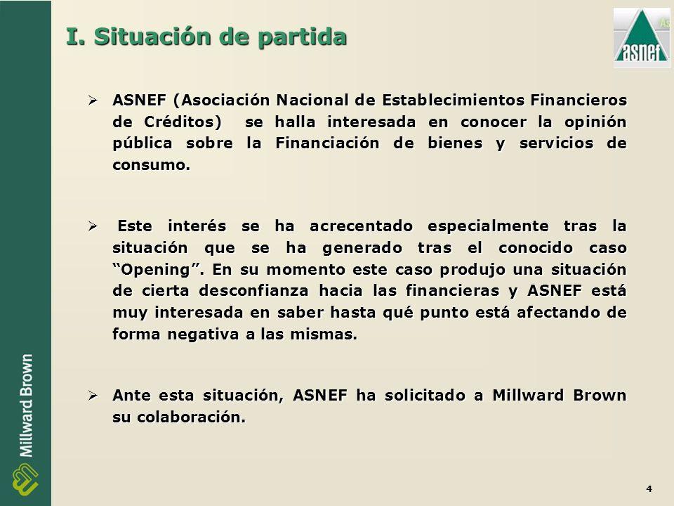 4 I. Situación de partida ASNEF (Asociación Nacional de Establecimientos Financieros de Créditos) se halla interesada en conocer la opinión pública so