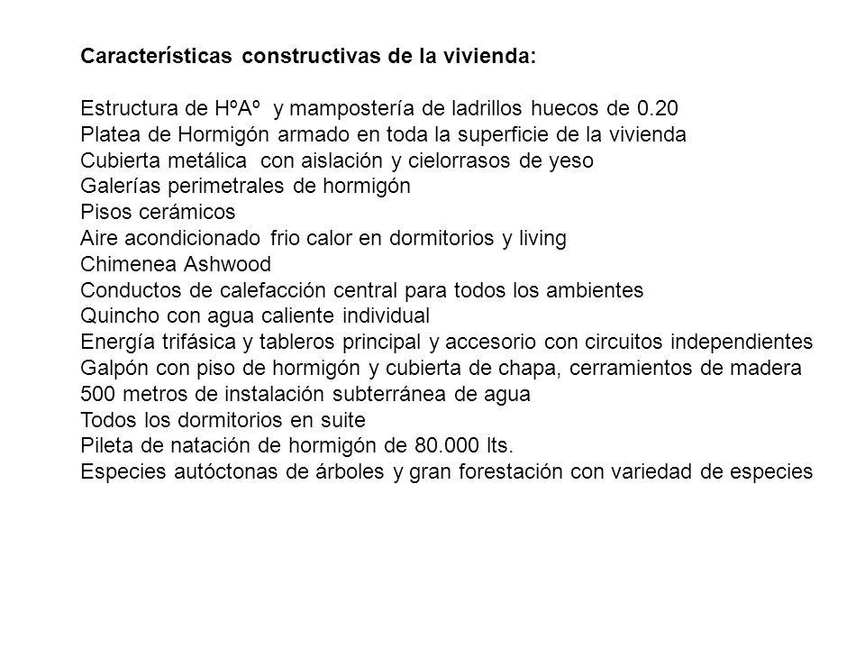 Características constructivas de la vivienda: Estructura de HºAº y mampostería de ladrillos huecos de 0.20 Platea de Hormigón armado en toda la superf