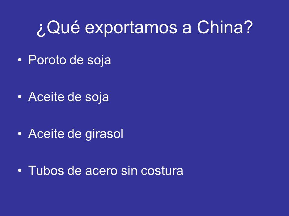 ¿Qué exportamos a China? Poroto de soja Aceite de soja Aceite de girasol Tubos de acero sin costura
