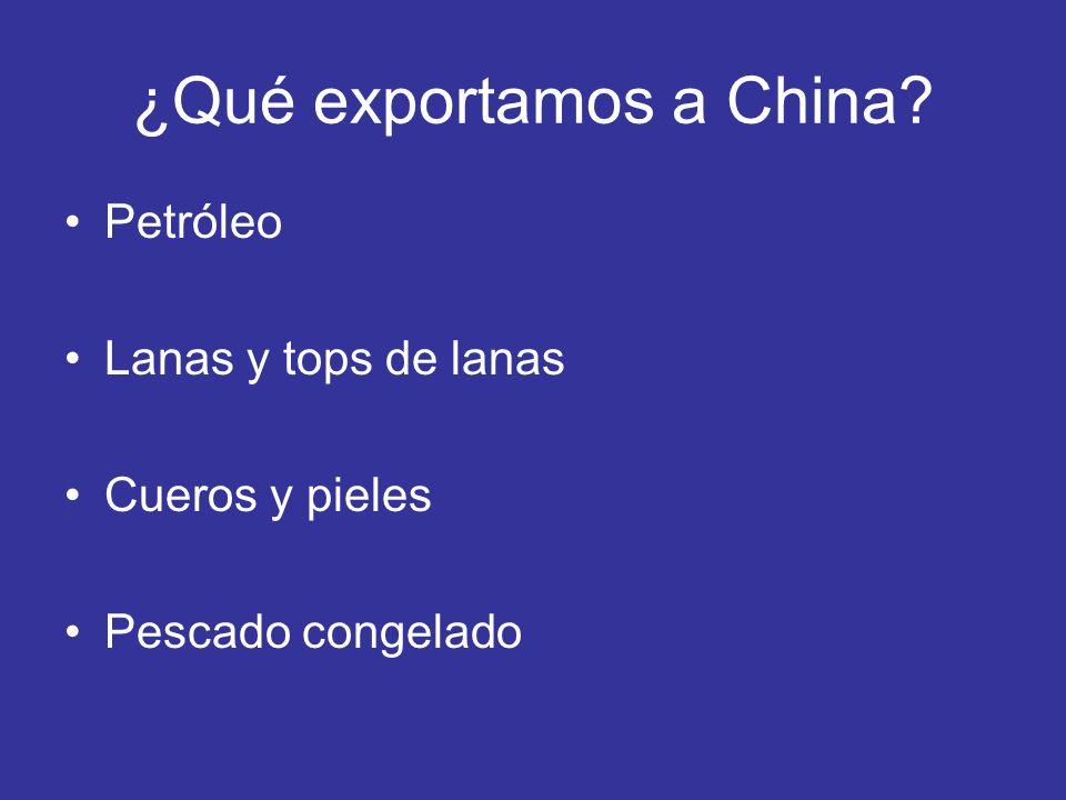 ¿Qué exportamos a China? Petróleo Lanas y tops de lanas Cueros y pieles Pescado congelado