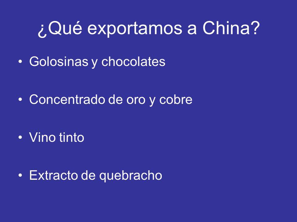 ¿Qué exportamos a China? Golosinas y chocolates Concentrado de oro y cobre Vino tinto Extracto de quebracho