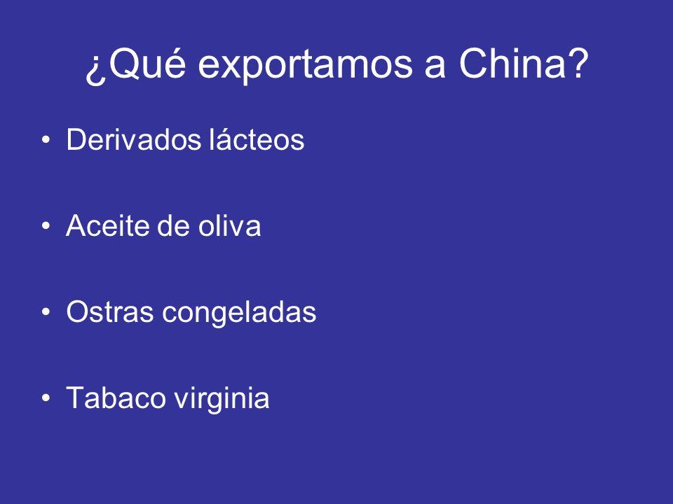 ¿Qué exportamos a China? Derivados lácteos Aceite de oliva Ostras congeladas Tabaco virginia