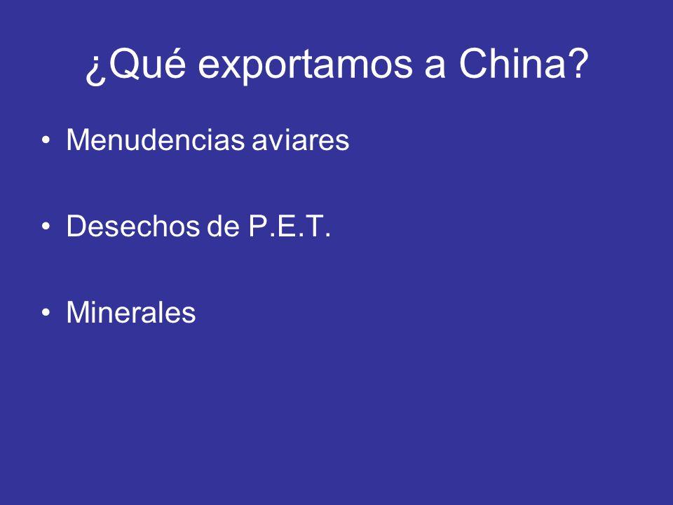 ¿Qué exportamos a China? Menudencias aviares Desechos de P.E.T. Minerales