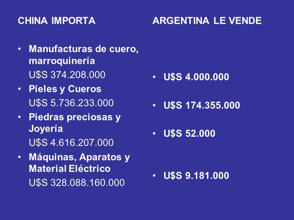 CHINA IMPORTA Manufacturas de cuero, marroquinería U$S 374.208.000 Pieles y Cueros U$S 5.736.233.000 Piedras preciosas y Joyería U$S 4.616.207.000 Máq