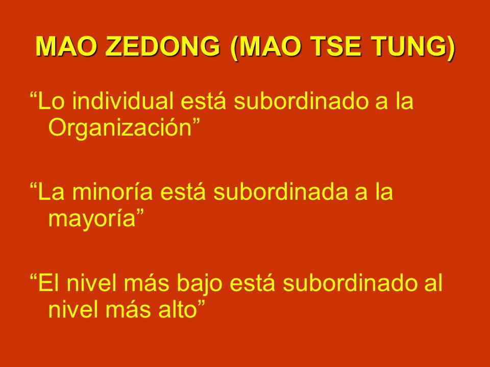 MAO ZEDONG (MAO TSE TUNG) Lo individual está subordinado a la Organización La minoría está subordinada a la mayoría El nivel más bajo está subordinado