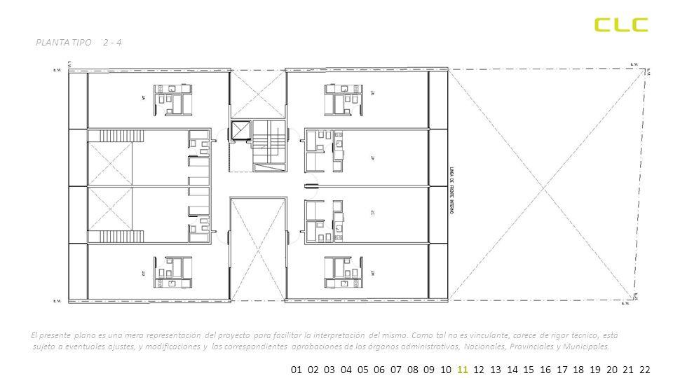 PLANTA TIPO2 - 4 El presente plano es una mera representación del proyecto para facilitar la interpretación del mismo.