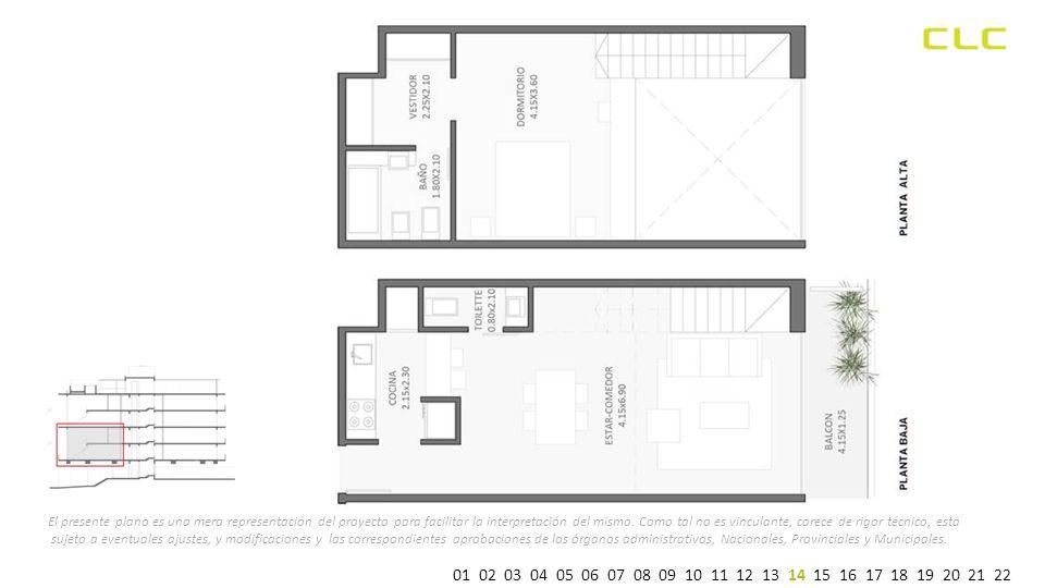 El presente plano es una mera representación del proyecto para facilitar la interpretación del mismo.