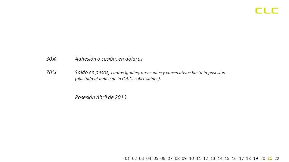 30% Adhesión o cesión, en dólares 70% Saldo en pesos, cuotas iguales, mensuales y consecutivas hasta la posesión (ajustado al índice de la C.A.C.