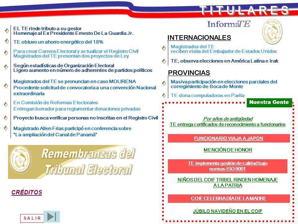 T I T U L A R E S S A L I R En Comisión de Reformas Electorales Entregan borrador para reglamentar donaciones privadas TE obtuvo un ahorro energético