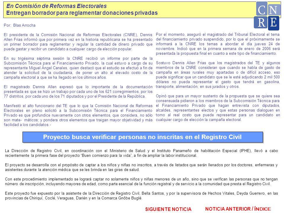 NOTICIA ANTERIOR / SIGUIENTE NOTICIA ÍNDICE En Comisión de Reformas Electorales Entregan borrador para reglamentar donaciones privadas Por: Blas Arroc