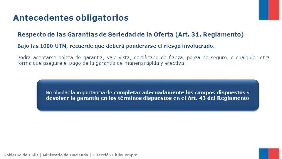 Gobierno de Chile | Ministerio de Hacienda | Dirección ChileCompra Respecto de las Garantías de Seriedad de la Oferta (Art. 31, Reglamento) Bajo las 1
