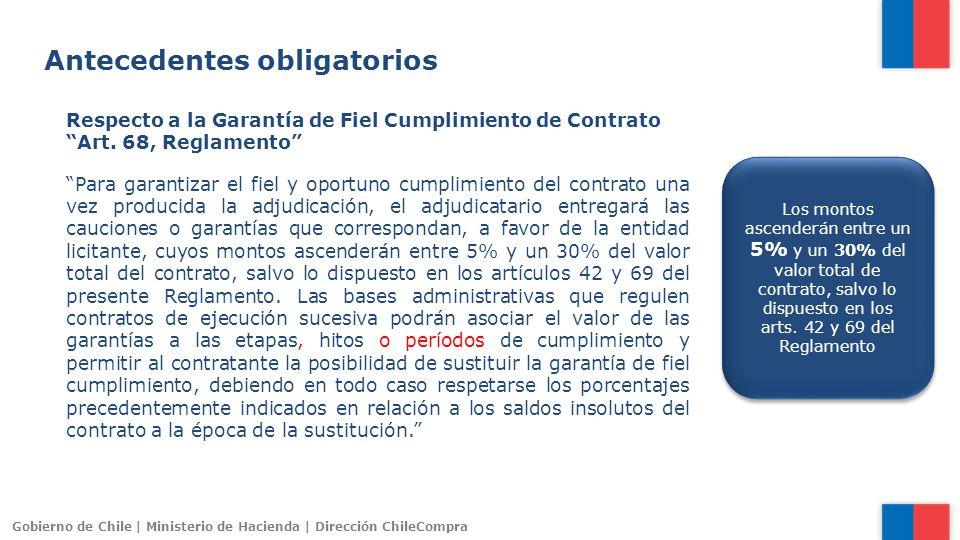 Gobierno de Chile | Ministerio de Hacienda | Dirección ChileCompra Antecedentes obligatorios Respecto a la Garantía de Fiel Cumplimiento de Contrato A