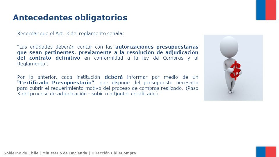 Gobierno de Chile | Ministerio de Hacienda | Dirección ChileCompra Recordar que el Art. 3 del reglamento señala: Las entidades deberán contar con las