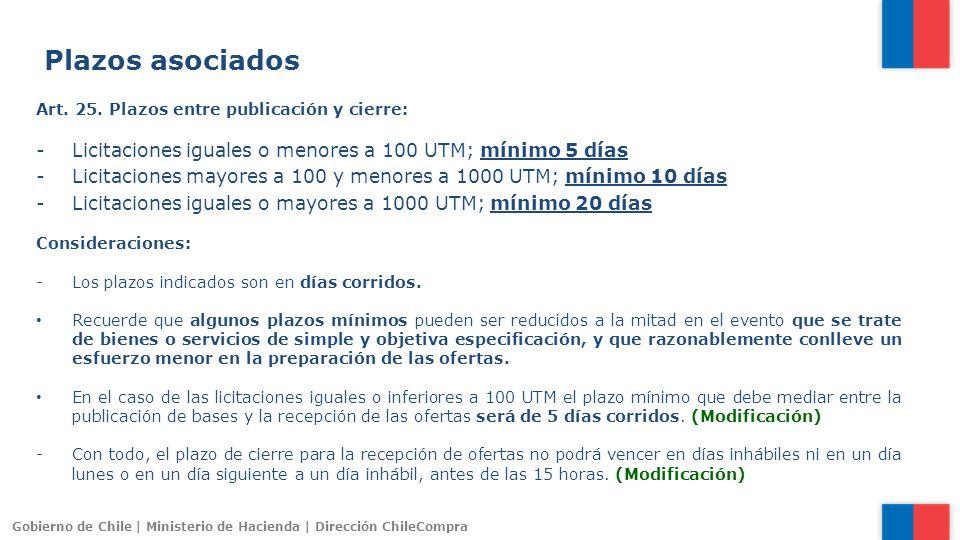 Gobierno de Chile | Ministerio de Hacienda | Dirección ChileCompra Art. 25. Plazos entre publicación y cierre: -Licitaciones iguales o menores a 100 U