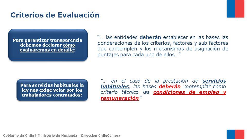 Gobierno de Chile | Ministerio de Hacienda | Dirección ChileCompra … las entidades deberán establecer en las bases las ponderaciones de los criterios,