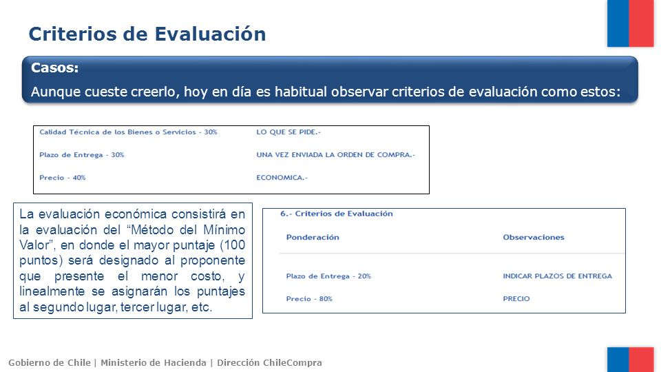 Gobierno de Chile | Ministerio de Hacienda | Dirección ChileCompra Criterios de Evaluación Casos: Aunque cueste creerlo, hoy en día es habitual observ