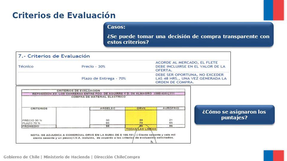 Gobierno de Chile | Ministerio de Hacienda | Dirección ChileCompra Criterios de Evaluación Casos: ¿Se puede tomar una decisión de compra transparente