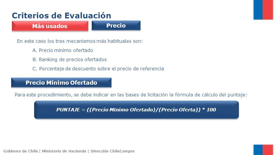 Gobierno de Chile | Ministerio de Hacienda | Dirección ChileCompra Criterios de Evaluación Precio Más usados En este caso los tres mecanismos más habi