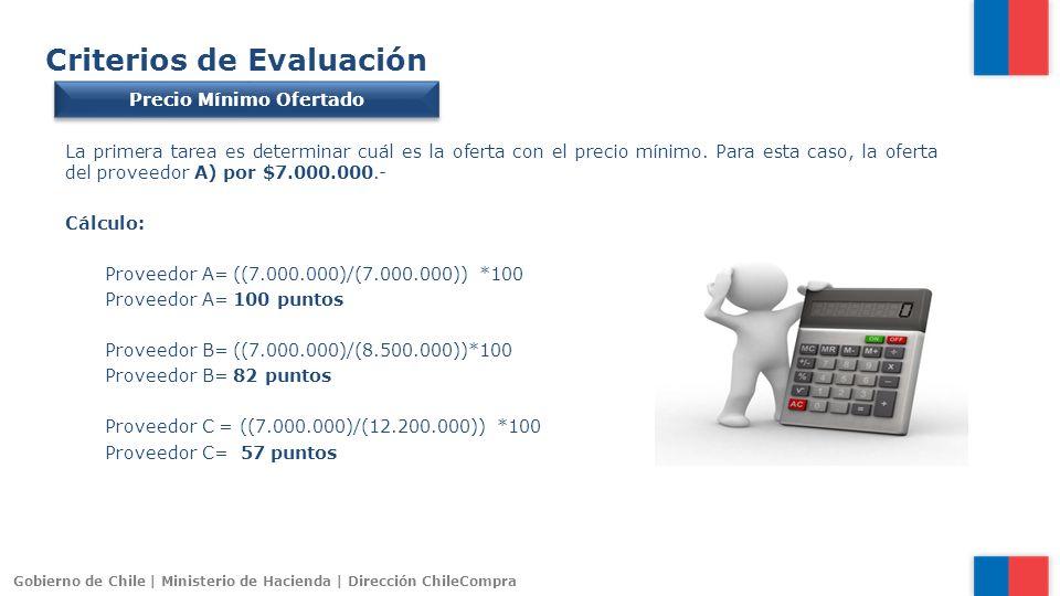 Gobierno de Chile | Ministerio de Hacienda | Dirección ChileCompra Criterios de Evaluación Precio Mínimo Ofertado La primera tarea es determinar cuál