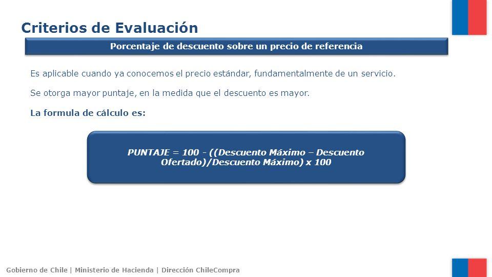 Gobierno de Chile | Ministerio de Hacienda | Dirección ChileCompra Criterios de Evaluación Porcentaje de descuento sobre un precio de referencia Es ap