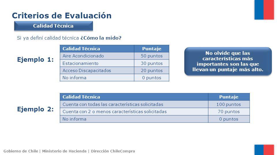 Gobierno de Chile | Ministerio de Hacienda | Dirección ChileCompra Criterios de Evaluación Calidad Técnica Si ya definí calidad técnica ¿Cómo la mido?