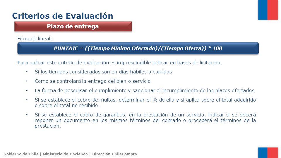 Gobierno de Chile | Ministerio de Hacienda | Dirección ChileCompra Criterios de Evaluación Plazo de entrega Fórmula lineal: PUNTAJE = ((Tiempo Mínimo