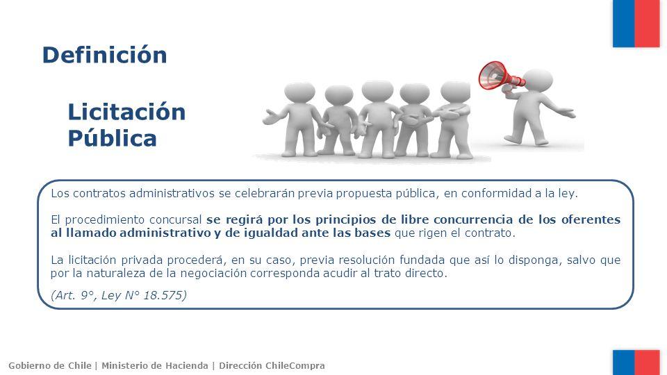 Gobierno de Chile | Ministerio de Hacienda | Dirección ChileCompra Los contratos administrativos se celebrarán previa propuesta pública, en conformida