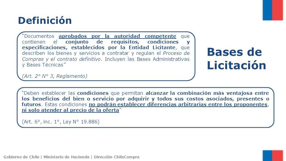 Gobierno de Chile | Ministerio de Hacienda | Dirección ChileCompra Documentos aprobados por la autoridad competente que contienen el conjunto de requi