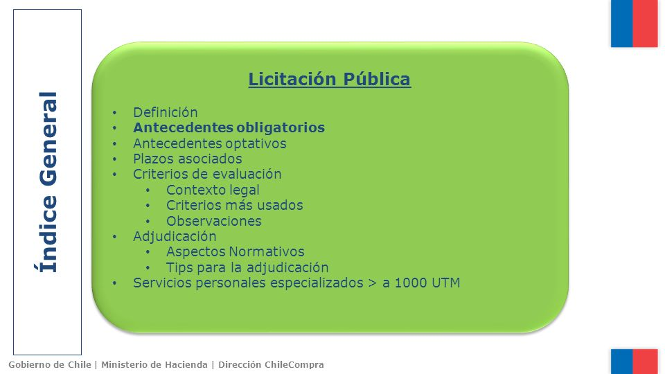 Gobierno de Chile | Ministerio de Hacienda | Dirección ChileCompra Criterios de Evaluación Criterios Sustentables 1.Eficiencia Energética 2.Impacto Medioambiental 3.Condiciones de Empleo y Remuneración 4.Contratación de Personas con Discapacidad 5.Otras materias de Alto Impacto Social ¿Sólo dicen relación con el cuidado por el medio ambiente.