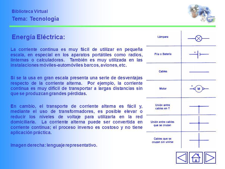 Energía Eléctrica: La corriente continua es muy fácil de utilizar en pequeña escala, en especial en los aparatos portátiles como radios, linternas o c