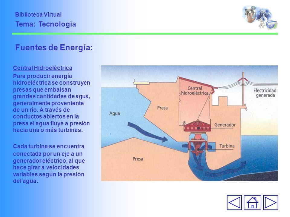 Fuentes de Energía: Central Hidroeléctrica Para producir energía hidroeléctrica se construyen presas que embalsan grandes cantidades de agua, generalm