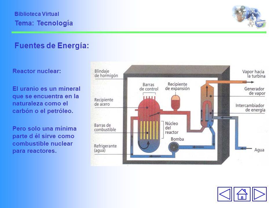 Fuentes de Energía: Reactor nuclear: El uranio es un mineral que se encuentra en la naturaleza como el carbón o el petróleo. Pero solo una mínima part