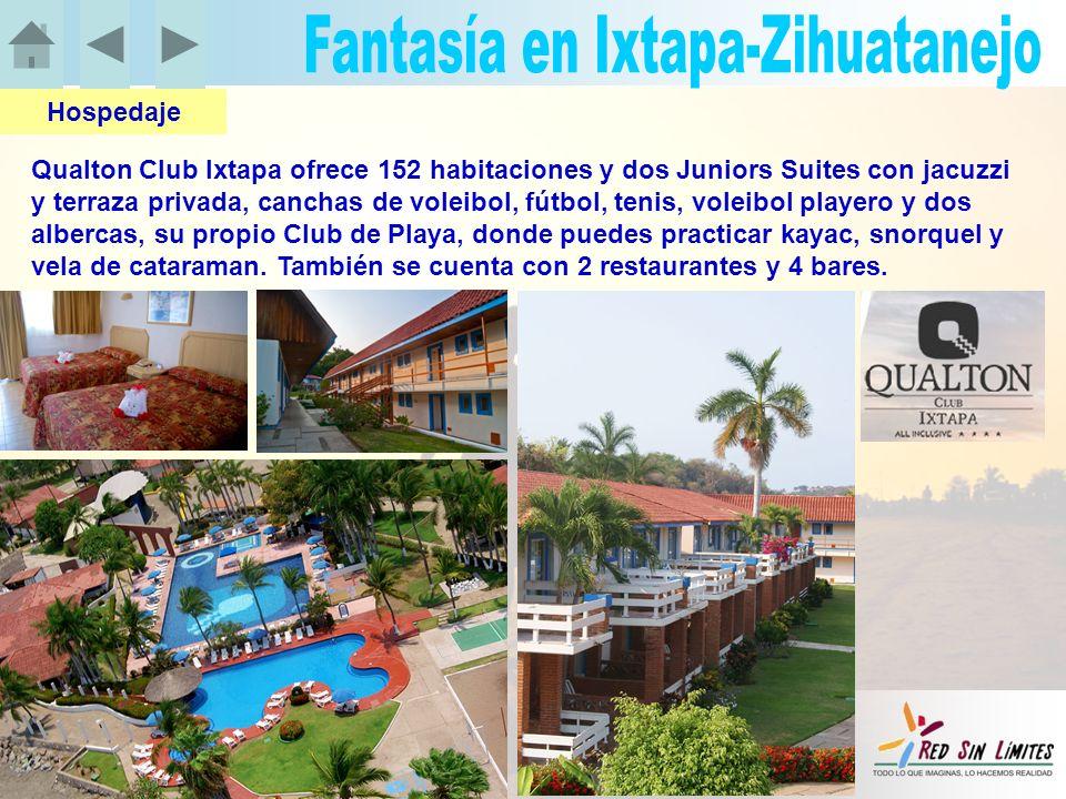 Qualton Club Ixtapa ofrece 152 habitaciones y dos Juniors Suites con jacuzzi y terraza privada, canchas de voleibol, fútbol, tenis, voleibol playero y dos albercas, su propio Club de Playa, donde puedes practicar kayac, snorquel y vela de cataraman.