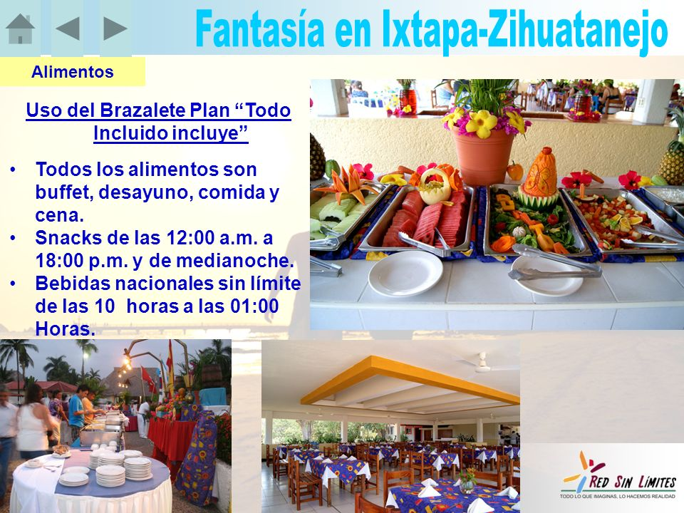 Uso del Brazalete Plan Todo Incluido incluye Todos los alimentos son buffet, desayuno, comida y cena.