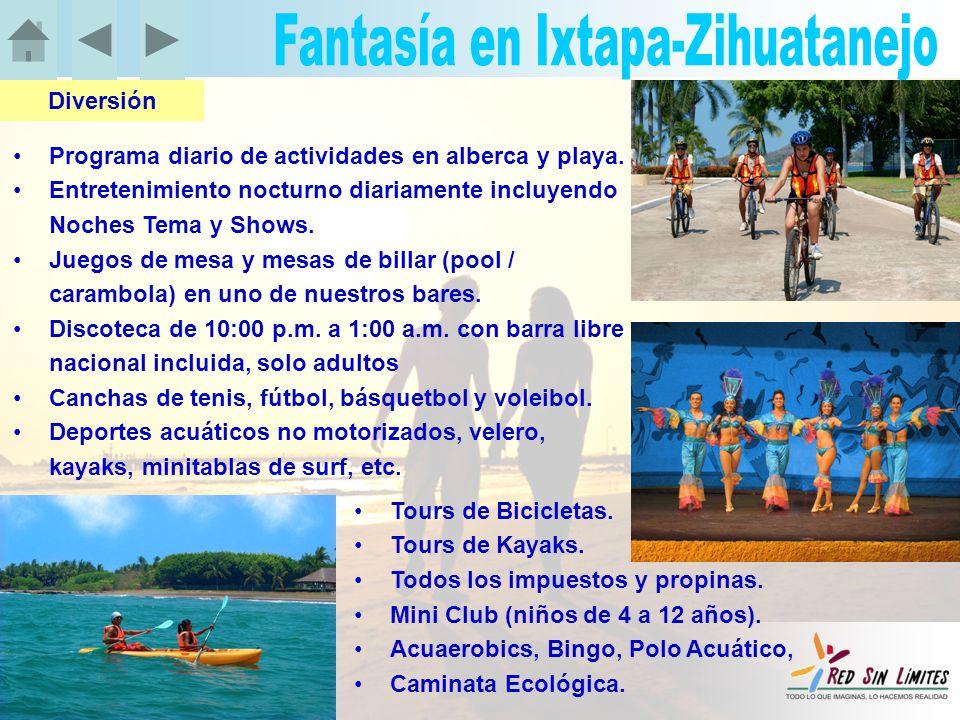 Programa diario de actividades en alberca y playa.