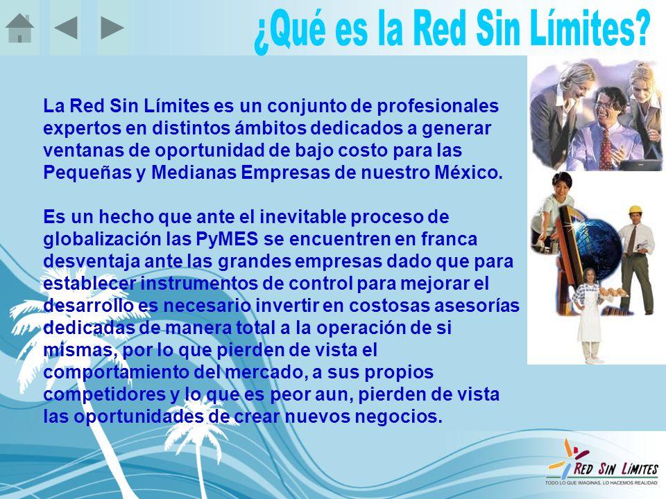 La Red Sin Límites es un conjunto de profesionales expertos en distintos ámbitos dedicados a generar ventanas de oportunidad de bajo costo para las Pequeñas y Medianas Empresas de nuestro México.