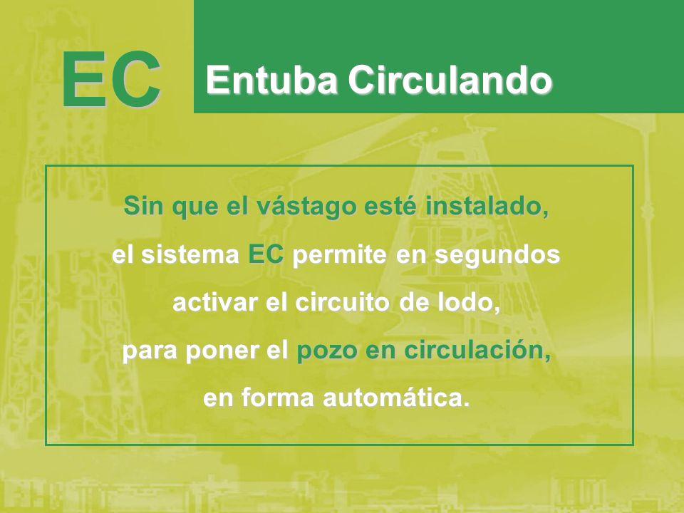 Sin que el vástago esté instalado, el sistema EC permite en segundos activar el circuito de lodo, para poner el pozo en circulación, en forma automática.