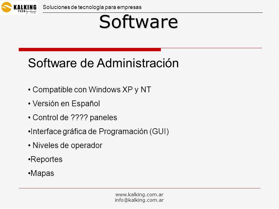 www.kalking.com.ar info@kalking.com.ar Software Compatible con Windows XP y NT Versión en Español Control de ???? paneles Interface gráfica de Program