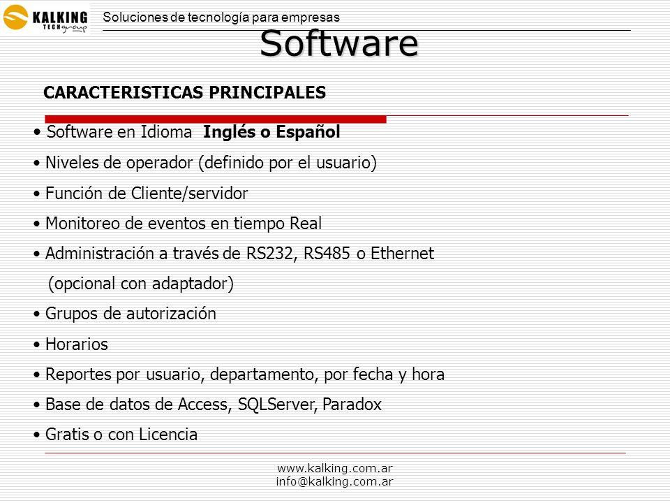www.kalking.com.ar info@kalking.com.arSoftware Software en Idioma Inglés o Español Niveles de operador (definido por el usuario) Función de Cliente/se