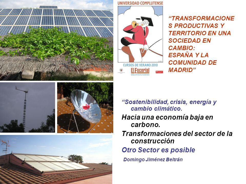 CLAVES DEL CURSO ASUMIDAS Una tercera revolución energético-industrial, con cambios en los sistemas productivos y de consumo esta en marcha Un vector fundamental será la transición hacia una economía baja en materiales (desmaterialización), en energia (desenergizacion ) y en carbono (descarbonizacion), obligadas además por el CC y el fin del petróleo fácil, peak oil La Agenda Internacional pasa por economías verdes, mas eficaces (producir lo necesario) y eficientes (con los mínimos recursos y sobre todo no renovables, y menor degradación ambiental), con generación de nuevos empleos, verdes, que compaginen el trabajo decente y un mundo sostenible La Estrategia Europa 2020 (Consejo Europeo 17 Junio 2010), afirma que, con adecuadas políticas de fomento de las energías renovables y la promoción de la eficiencia energética, podrían crearse más de un millón de puestos de trabajo en la UE.