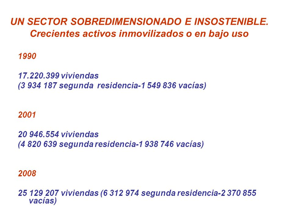 UN SECTOR SOBREDIMENSIONADO E INSOSTENIBLE. Crecientes activos inmovilizados o en bajo uso 1990 17.220.399 viviendas (3 934 187 segunda residencia-1 5