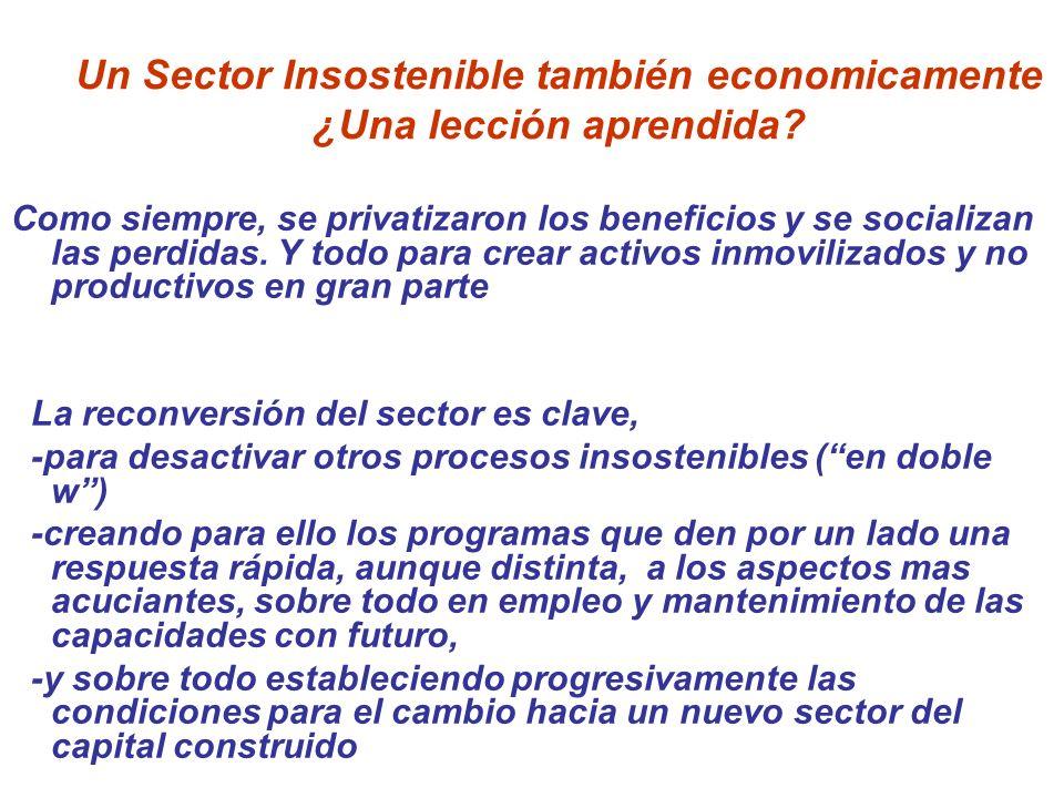 Un Sector Insostenible también economicamente ¿Una lección aprendida? Como siempre, se privatizaron los beneficios y se socializan las perdidas. Y tod