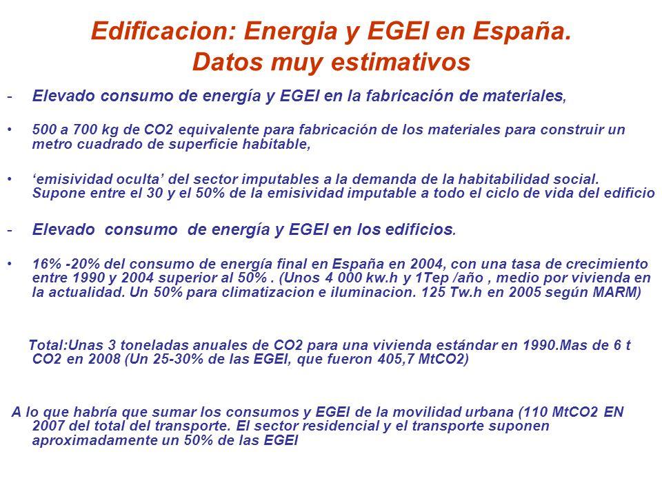 Edificacion: Energia y EGEI en España. Datos muy estimativos -Elevado consumo de energía y EGEI en la fabricación de materiales, 500 a 700 kg de CO2 e